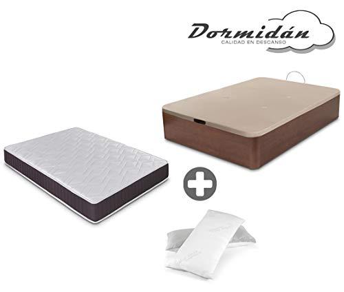 Dormidán - Pack de canapé abatible de Gran Capacidad + colchón viscoelástico + Almohada visco Copos de Regalo (150_x_190_cm, Cerezo)