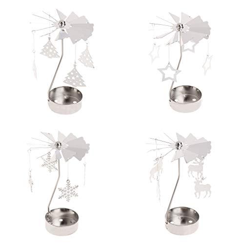 S-TROUBLE 4 Stück Metall rotierende Teelicht Kerzenhalter Silber DIY Spinning Teelichthalter für Weihnachten Home Festival Dekoration