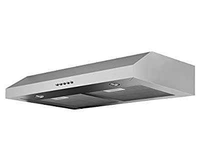 """Ancona AN-1215x Slim 280 CFM Ducted 30"""" Under Cabinet Range Hood, Silver"""