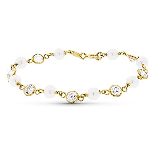 Pulsera oro 18k niña 16.5 cm. circonitas combinadas perlas reasa