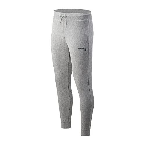 New Balance Pantalones de forro polar para hombre Nb Classic Core, Pantalones, MP03904, Gris atlético, S