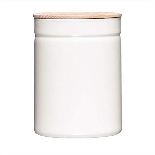Riess, 2175-212, Vorratsdose mit Eschenholzdeckel, Durchmesser 13 cm, Höhe 18 cm, Inhalt 2250 ml, PURE WHITE, KITCHEN-MANAGEMENT, Truehomeware, Emaille