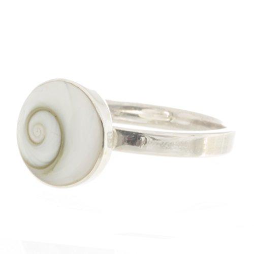 Bella Carina Damen Ring mit Shiva Auge rund 1 cm, verstellbar, 925 Sterling Silber