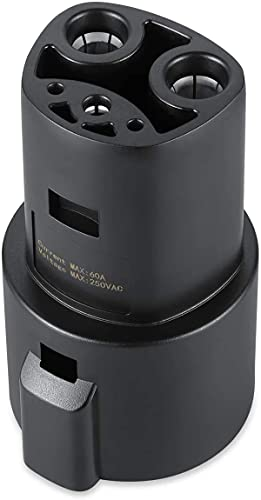 Lectron J1772 to Tesla Charging Adapter 60Amp /250V AC - Compatible with SAE J1772 Charger (Black)