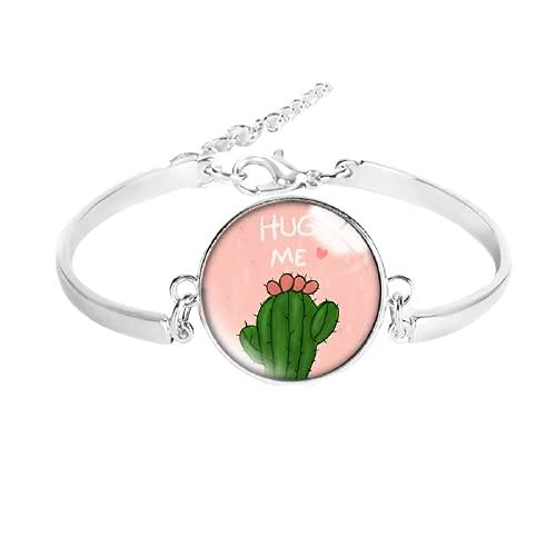Cactus - Pulsera de metal bronce de cristal de 20 mm, botón de presión, redondo, cabujón, joyería para mujeres y hombres, regalo