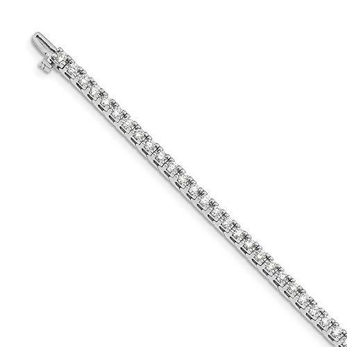 Pulsera de tenis de oro blanco de 14 quilates con diamantes cultivados en laboratorio SI1/SI2, G-H