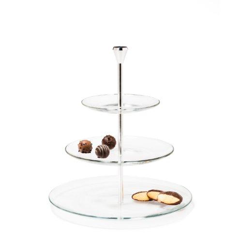 Leonardo 020543 Etagere Dinner 3-stufig, rund, Glas, 3 Etagen, Servierteller, Pralinen, Cupcakes, Antipasti