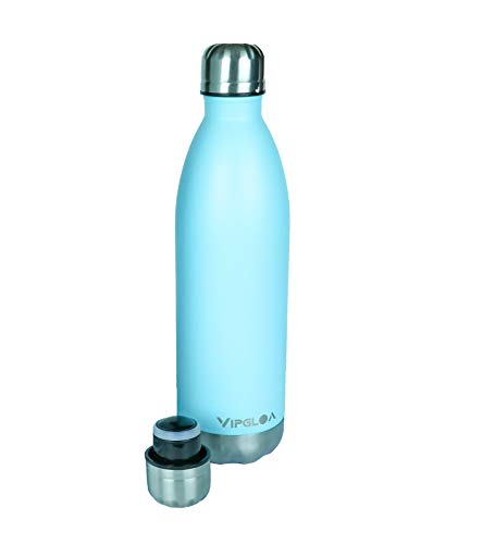 thermos insulated water bottles Vacuum Insulated Water Bottle, Best Stainless Steel Water Bottle, Thermos, Drinking Bottles, Double Wall Water Bottle, BPA-Free, Reusable Bottle, Stainless Insulated Water Bottle, 25oz. (Light Blue).