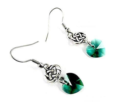 Celtic Knots & Hearts for St Patrick's Day Gift Emerald Green Swarovski Crystal Heart Eternity Endless Knot Earrings, Irish Luck, Handmade Jewelry