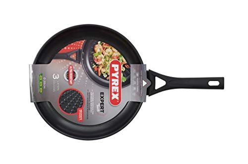 Pyrex 8019841 Expert Touch Wok en Inox Ø 28 cm Compatible tous Feux dont Induction - Revêtement Anti-Adhésif Renforcé Longue Durée