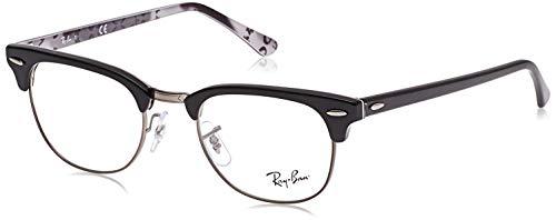 Ray-Ban RX5154 Clubmaster Square Prescription Eyeglass Frames, Black On Texture Grey/Demo Lens, 51 mm