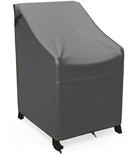 NUPICK Patio Stackable Chair Cover, 26 Inch Outdoor Furniture Chair Cover for 4-6 Stackable Dining Chair, 100% Waterproof, Rip-Stop and Weather Resistant, Grey