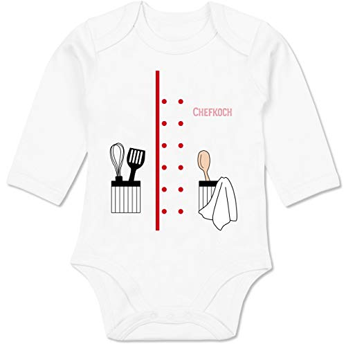 Shirtracer Karneval und Fasching Baby - Chefkoch Karneval Kostüm - 6/12 Monate - Weiß - Verkleidung Kostüm - BZ30 - Baby Body Langarm