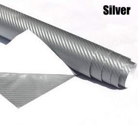 JiuRui DIY Verpackung 40cm x 200cm Auto-Zubehör DIY Auto-Styling-Verpackungs-Auto Fahrzeuge Motorrad 3D-Carbon-Faser-Vinylfilm-Auto-Aufkleber Wasserdicht (Color Name : Silver)