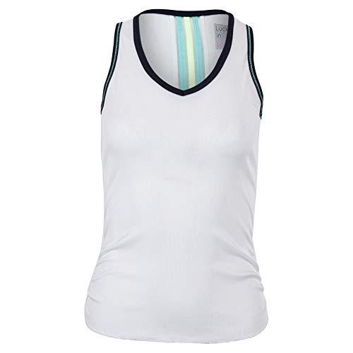 Lucky In Love Women`s Lightweight Rib Tennis Tank White with Midnight Trim (X-Small White/Mdnt Tm)