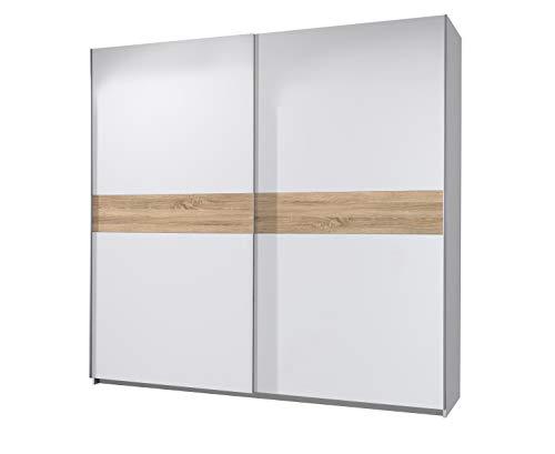 AVANTI TRENDSTORE - Magenta- Armadio con Ante scorrevoli in Legno Laminato, Molto spazioso ed Elegante. Disponibile in 2 Diverse colorazioni. Dimensioni Lap 270x210x63 cm (Bianco/Quercia Sonoma)