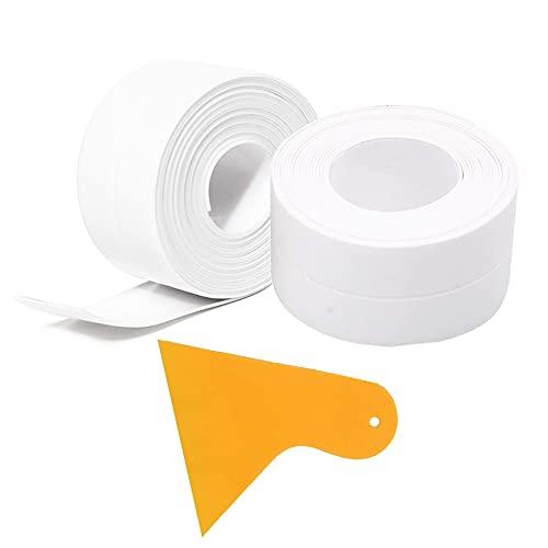 Striscia di nastro adesivo in PVC impermeabile adesivo autoadesivo - 2 pezzi di nastro protettivo sigillante per calafataggio(L: 38mm L: 3.2m) per gas del pavimento del lavandino della vasca, bianco