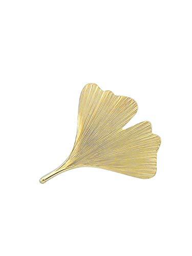 Gold Brosche Ginkoblatt 14 k 585 Gelbgold