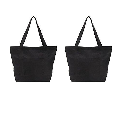 Augbunny - Bolsas de lona resistentes 100% algodón con cremallera, bolsos de hombro para playa o para la compra con bolsillo exterior, 2unidades