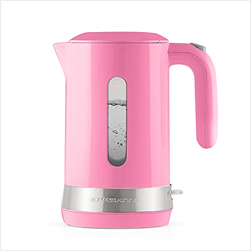 Ovente Electric Hot Water Kettle 1.8 Liter with Prontofill Lid 1500 Watt BPA-Free Portable Countertop Tea Coffee Maker Fast Heating Element with Auto Shut-Off and Boil Dry Protection Pink KP413P