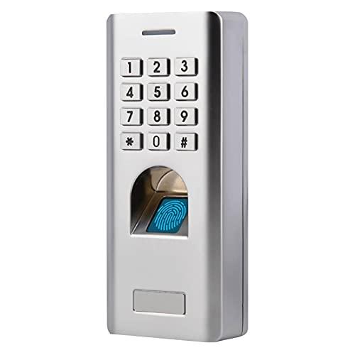 Fingerabdruck Zugangskontrolle, Metall Fingerprint Codeschloss Zutrittskontrolle mit IP66 Wasserdichte/Numerische Tastatur, intelligent Zugangssystem Türöffner für Home Sicherheit