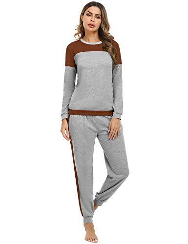 Aibrou Damen Zweiteiliges Pyjama Set, Lange Ärmel lose Schlafanzug mit Bündchen am...