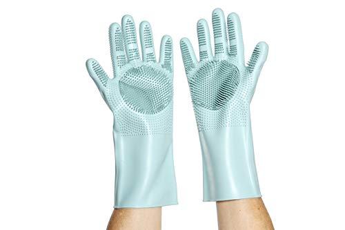 Qualitäts Putz- Spül- Massage- Reinigungs-Handschuhe, Tolle Handhabung, Noppen 2.0, Silikon BPA Frei + LFGB Lebensmittelsicher, -40 bis 230°C