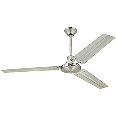 Westinghouse Lighting 7861400 Industrial 56-Inch Three-Blade Indoor Ceiling Fan, Brushed Nickel with Brushed Nickel Steel Blades