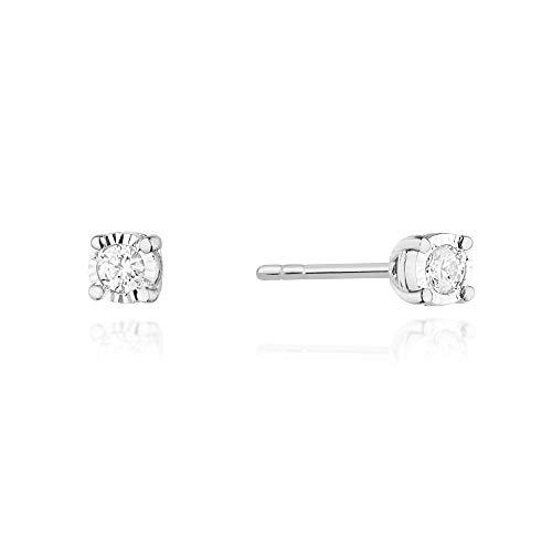 Pendientes para mujer de oro blanco 585 de 14 quilates, diamantes brillantes