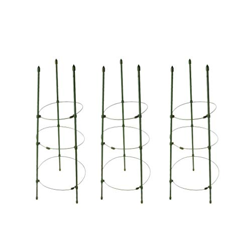 SXRDZ 3 Pcs 17.7 Inches Plant Support Cages Adjustable Support Cage Stand Tower for Tomato Plants/Sweet Peas/Large Plants RDZ