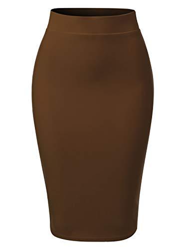 MixMatchy Women's Casual Classic Bodycon Pencil Skirt Mocha L