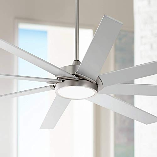 """65"""" Destination Modern Contemporary Indoor Ceiling Fan with Light LED Remote Control Dimmable Brushed Nickel Silver White Glass for House Bedroom Living Room Home Kitchen Dining - Possini Euro Design"""