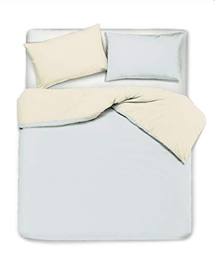 Novilunio - Juego de funda nórdica y fundas de almohada, bicolor, reversible, de algodón, fabricado en Italia, individual, color beige y perla