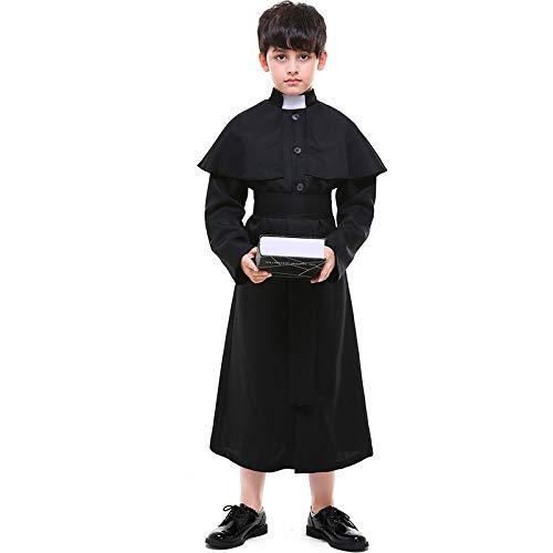COSOER Pastor-Chor-Kostüme Der Kinderkirche,Halloween-Rollenspiel-Priester-Kleidung,Black-L