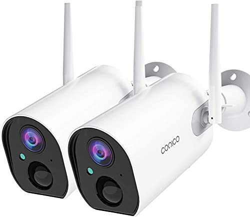 Wireless Rechargeable Battery Powered Camera 2pc, Conico Outdoor Security Camera, 1080P WiFi Surveillance Camera for Home with Night Vision, Two Way Audio, PIR Motion Detection
