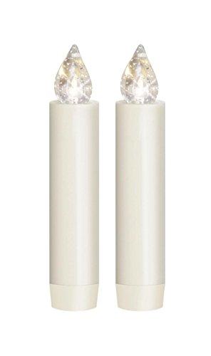 Lumix Classic Mini S elfenbein, weiß, Erweiterungs-Set, 2 Kerzen, 2 Batterien, Weihnachts-Beleuchtung von Krinner