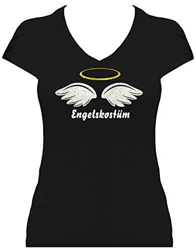 BlingelingShirts Glitzer Shirt Damen Karneval Engel Engelskostüm, T-Shirt, Grösse XL, schwarz