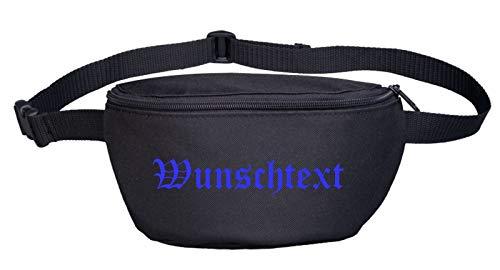 Bauchtasche mit Wunschtext - Altdeutsch - Bedruckt - Gürteltasche Hipbag Druckfarbe: blau