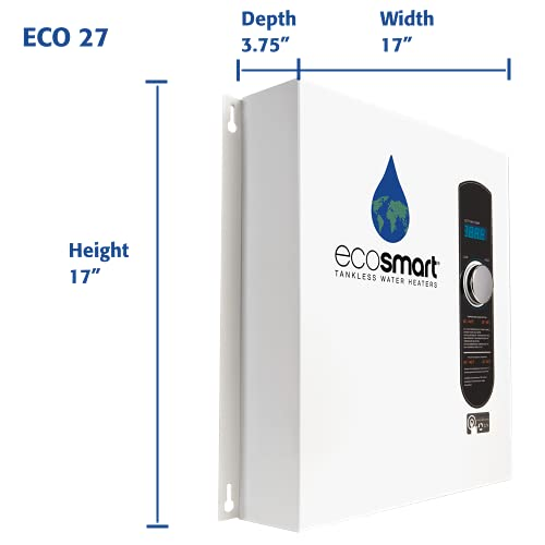 EcoSmart ECO 27 Electric Tankless Water Heater, 27 KW at 240 Volts, 112.5 Amps with Patented Self Modulating Technology,White