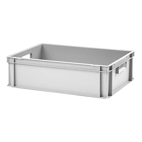 Euro-Stapelbox EB-617, 600x400x175 mm (LxBxH), grau ähnl. RAL7001, aus Polypropylen, lebensmittelecht, 2 Handgriffe, ca. 35 Liter Vol.