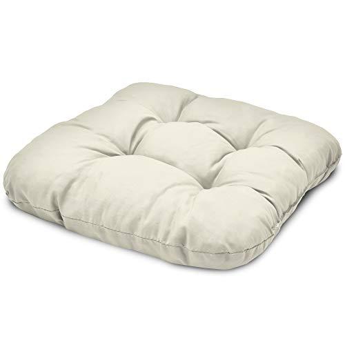 Beautissu Stuhlkissen 40x40 cm Lisa – Bequemes 8cm Kissen für Stuhl & Bank – Gepolstertes Sitzkissen Stuhl für Ihre Esszimmer Stühle und Bänke – Sitzpolster in Natur