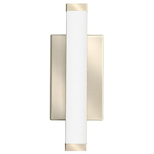 Lithonia Lighting Contemporary Square 1 Foot Brushed Nickel 3K LED Decorative Wall Light, Sconce