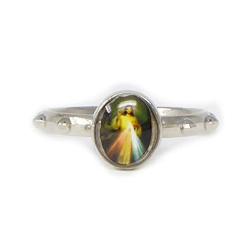Silver metal small Divine Mercy rosary ring Catholic pocket prayer beads 2.5cm