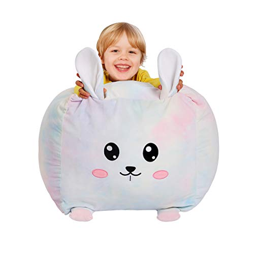 Colourful Rabbit Stuffed Animal Storage Bean Bag Chair Cover for Kids Super Soft Velvet Stuffed and Sit Toy Storage Organization for Plush Toy Pillows Blankets Towels Clothes-18Inch