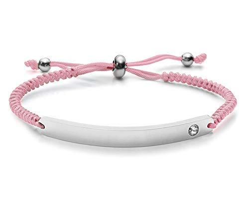 Silvity Damen Gravur-Armband Edenlstahl veredelt mit einem Swarovski¨ Kristall 16,5 cm bis 20,5 cm Wunschgravur inkl. Geschenkbox (Silber-Pink)