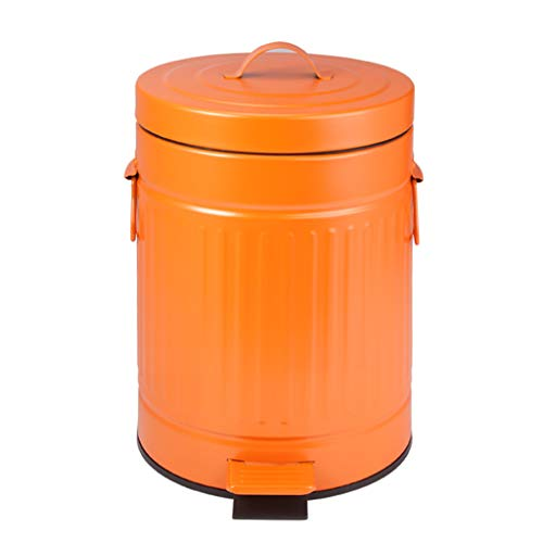 XYW-0001 Bote De Basura para Pedales, Cubo De La Cocina - Contenedor De Almacenamiento Descendente Silencioso Retro - PequeñAs Papeleras con Tapa - Naranja para El Hogar 5 L