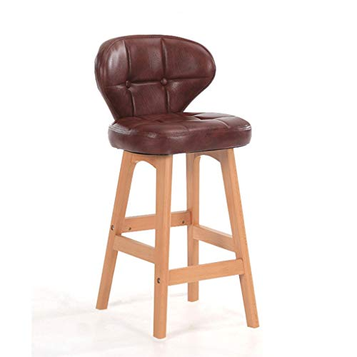Modern Minimalist Bar Chair Solid Wood Bar Chair With Back Bar Stool And Cashier High Chair For Home Use Backrest High Stool (Color : B, Size : 85 * 37 * 34cm)