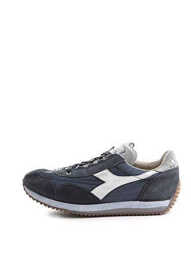 Diadora Heritage, Uomo, Equipe H Dirty Stone Wash Evo, Pelle/Tela, Sneakers, Blu, 44 EU