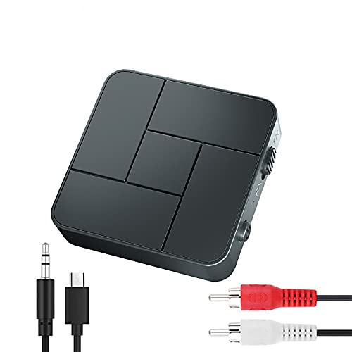 LIXUE Receptor y Transmisor de Audio con Bluetooth 5,0, Adaptador Inalámbrico Estéreo con Micrófono para Coche, TV, PC, Auriculares, 3,5mm, AUX, Jack, RCA, USB