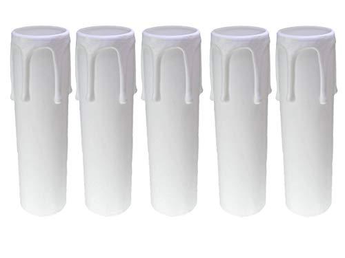 AMBROS - Kristall 5X E14 Fassunghülse ~ Kerzenhülse 70mm Kunststoff Weiß Ø 27/29mm